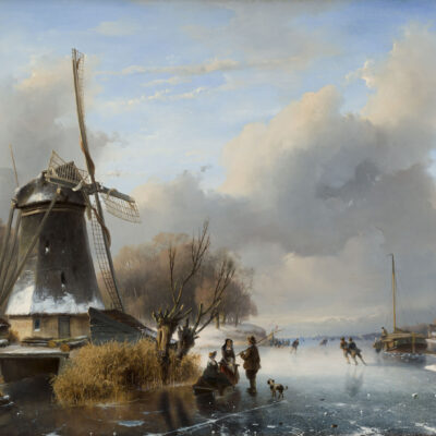 Nicolaas Roosenboom | Hollands winterlandschap met figuren bij een molen | Kunsthandel Bies