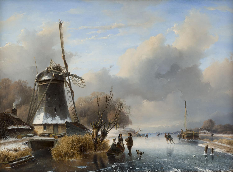 Nicolaas Roosenboom | Hollands winterlandschap met figuren bij een molen | Kunsthandel Bies