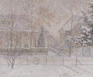 Jakob ('Jaap') Nieweg | Huizen in de sneeuw, Amersfoort | Kunsthandel Bies