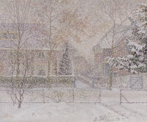 Jakob Nieweg | Huizen in de sneeuw (Utrechtseweg 142 en 144) in Amersfoort | Kunsthandel Bies