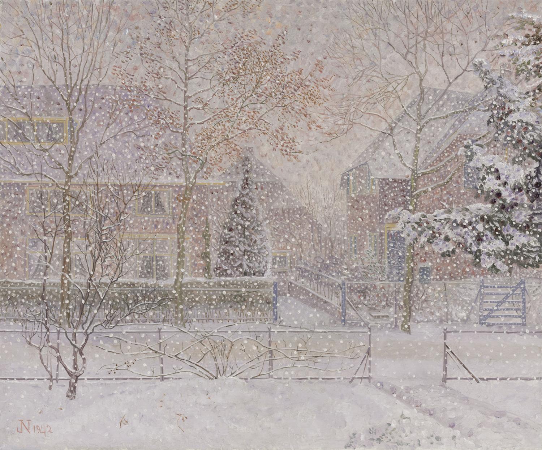 aap Nieweg | Huizen in de sneeuw (Utrechtseweg 142 en 144) in Amersfoort | Kunsthandel Bies