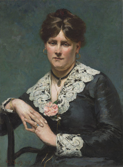 Pieter Oyens | Portret van een vrouw in een zwarte jurk met kanten kraag | Kunsthandel Bies
