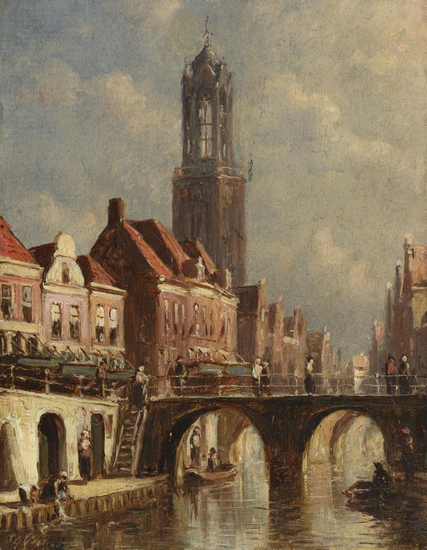 Petrus Gerardus Vertin   Utrecht stadsgracht met de Domtoren   Kunsthandel Bies