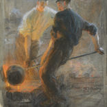 Pieter de Josselin de Jong   Twee mannen aan het werk in een IJzergieterij   Kunsthandel Bies