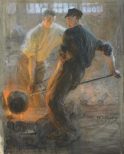 Pieter de Josselin de Jong | Twee mannen aan het werk in een IJzergieterij | Kunsthandel Bies