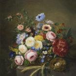 Adriana van Ravenswaay | Stilleven met bloemen en een vogelnestje | Kunsthandel Bies