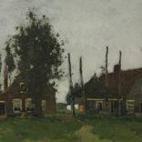 Piet de Regt | Landschap met twee boerderijen | Kunsthandel Bies