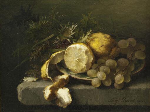 Margaretha Roosenboom | Stilleven met citroenen en druiven | Kunsthandel Bies