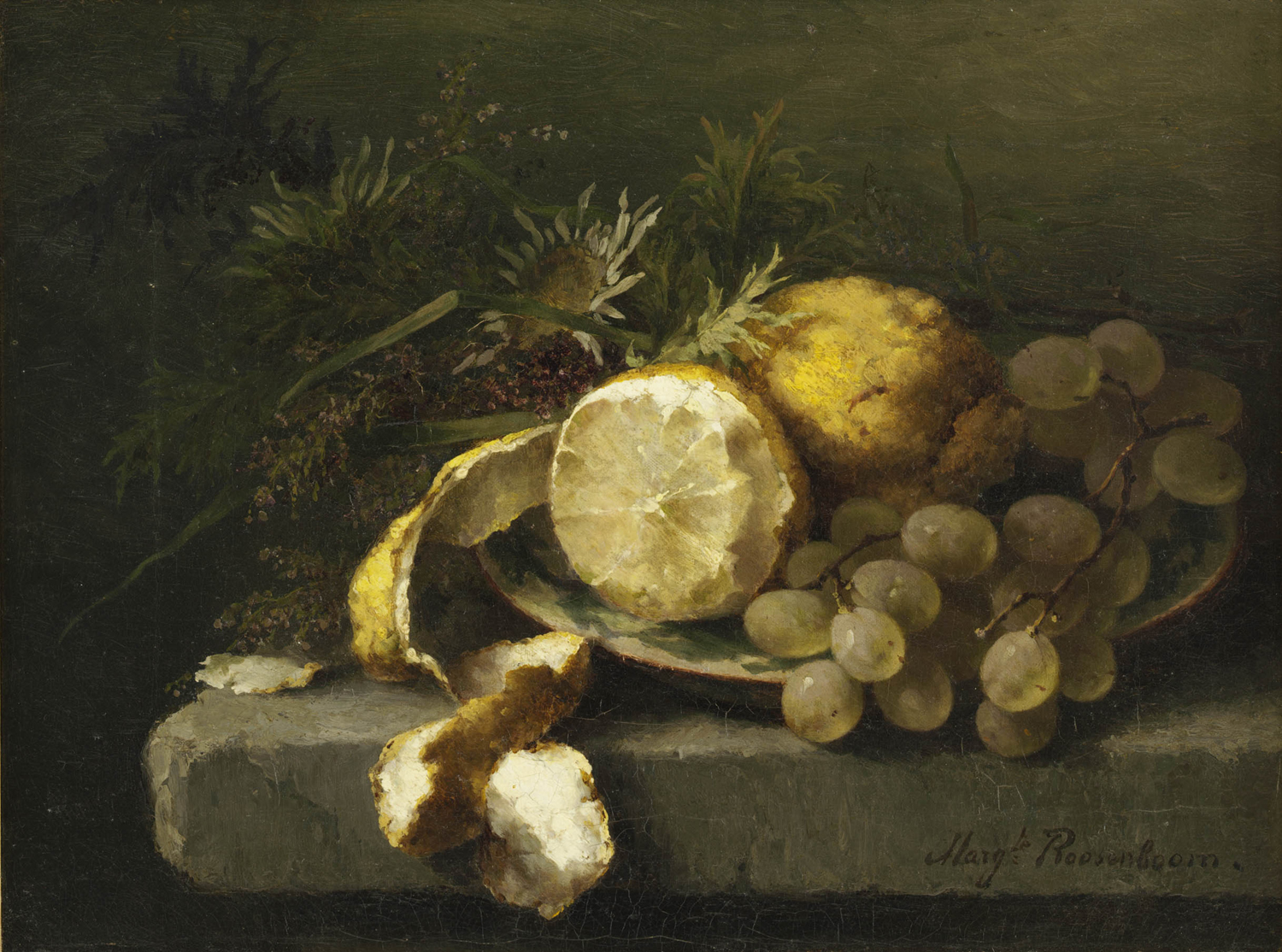 Margaretha Roosenboom | A still life with lemons and grapes | Kunsthandel Bies | Bies Gallery