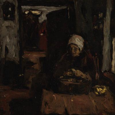 Suze Robertson | Aardappelschillende vrouw | Kunsthandel Bies