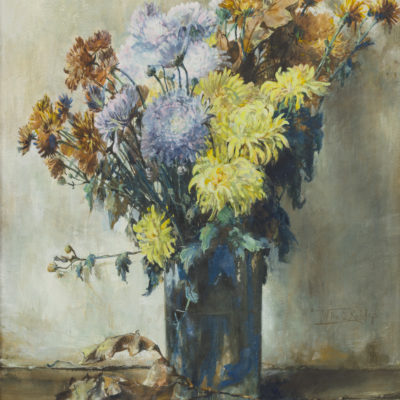 Willem Elisa Roelofs Jr | Een vaas met chrysanten | Kunsthandel Bies