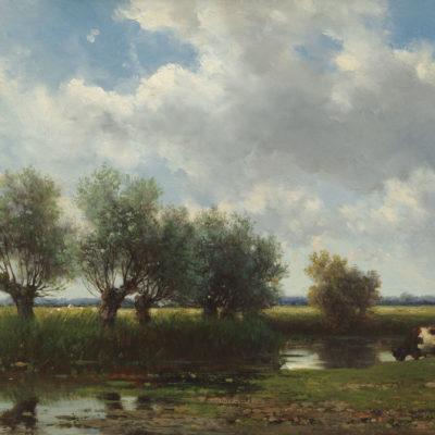 Willem Roelofs | Hollands polderlandschap met koeien bij een vaart | Kunsthandel Bies