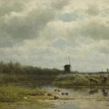 Willem Roelofs | Polder met eendennesten | Kunsthandel Bies