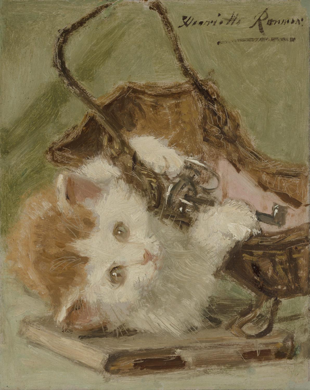 Henriette Ronner-Knip | Kitten spelend met een sleutelmandje | Kunsthandel Bies