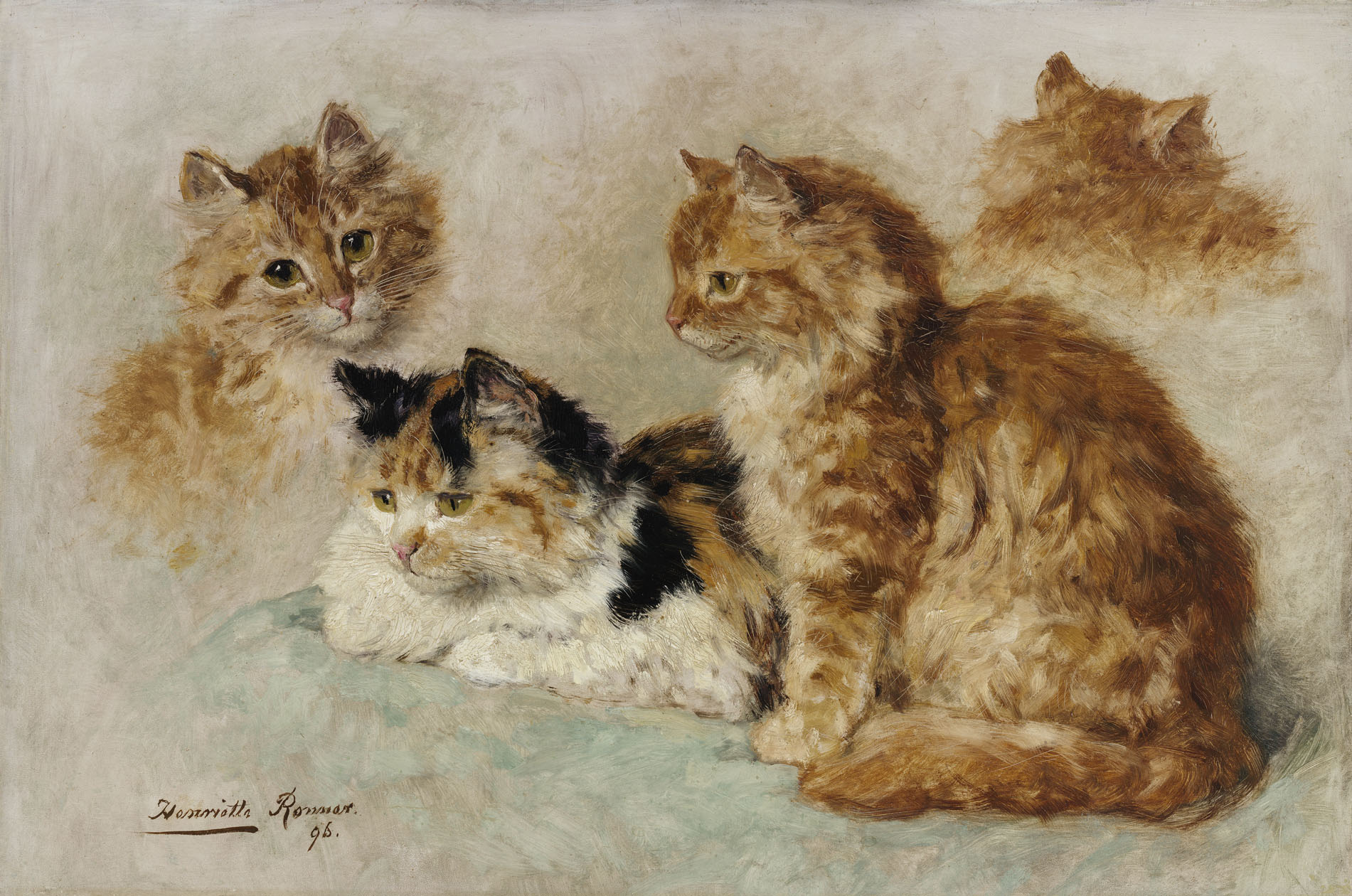 Henriette Ronner-Knip | A study of four ginger cats | Kunsthandel Bies| Bies Gallery