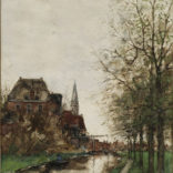 Fredericus Jacobus van Rossum du Chattel | Gezicht op een stad aan het water | Kunsthandel Bies