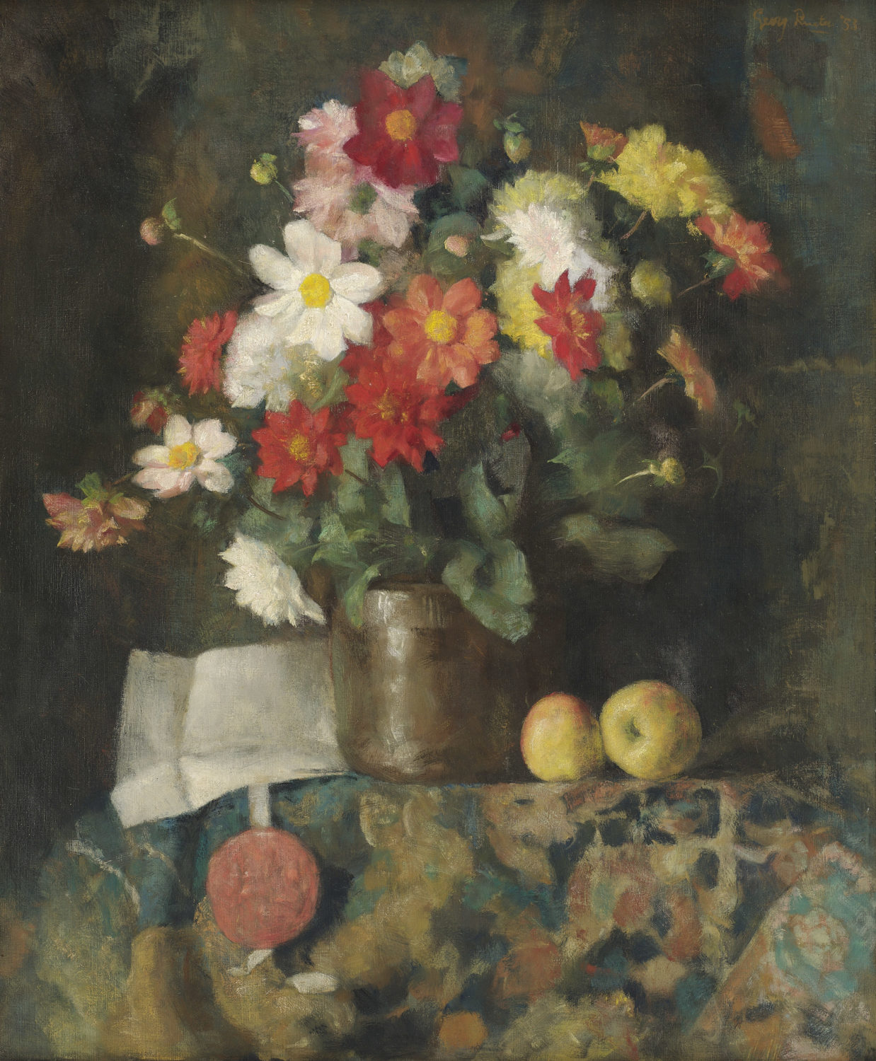 Georg Rueter | A still life with flowers, apples and a certificate | Kunsthandel Bies | Bies Gallery