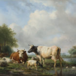 Hendrik van de Sande Bakhuyzen | Landschap met vee bij een waterpoel | Kunsthandel Bies