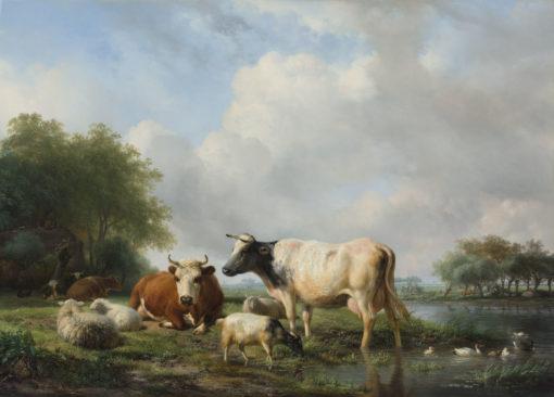 Afbeelding | Hendrik van de Sande Bakhuyzen | Landschap met vee bij een waterpoel