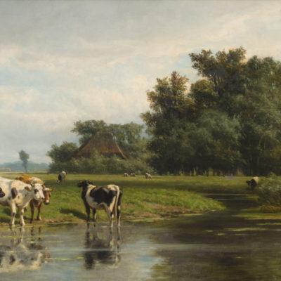 Hendrik Savrij | Koeien bij een rivier | Kunsthandel Bies