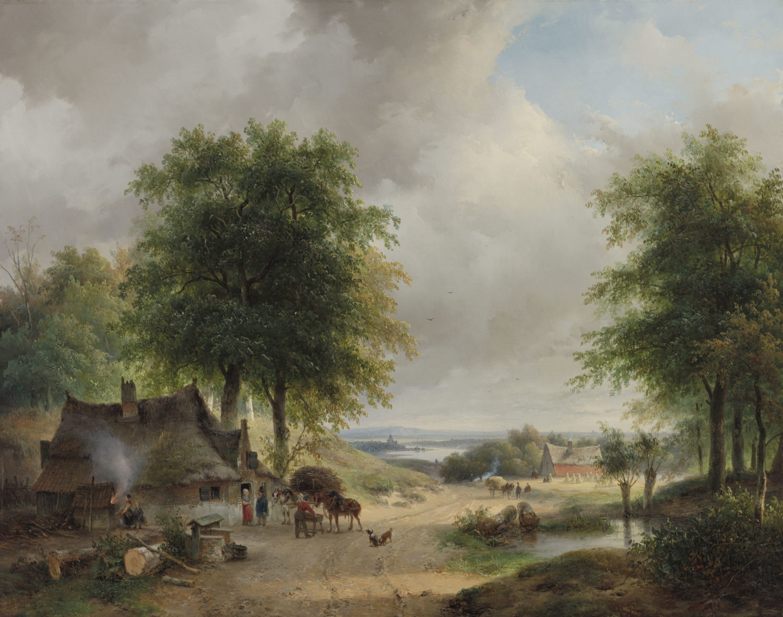 Andreas Schelfhout | Weids zomerlandschap met figuren bij een huis | Kunsthandel Bies