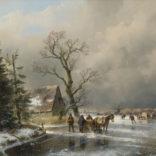 Andreas Schelfhout | Wintergezicht met figuren en een paardenslee op het ijs | Kunsthandel Bies