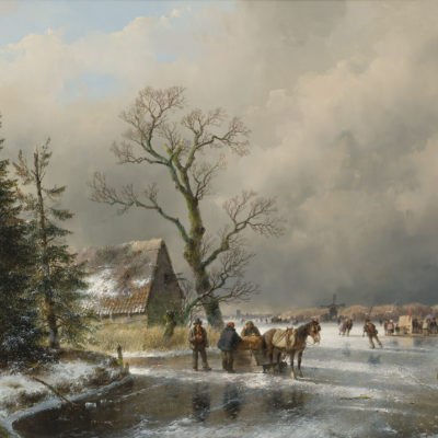 Andreas Schelfhout | Wintergezicht met figuren en een paardenslee op het ijs | Kunsthandel Bies