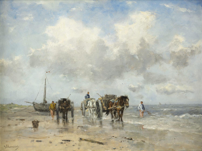 Johan Frederik Cornelis Scherrewitz | Schelpenvissers in de branding | Kunsthandel Bies