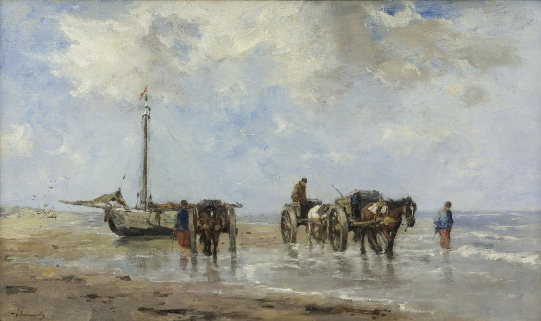 Johan Scherrewitz | Shell gatherers on the beach | Kunsthandel Bies | Bies Gallery