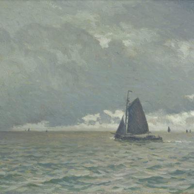 Anthonie Pieter Schotel | Tjalk op de Zuiderzee bij zwaarbewolkte hemel | Kunsthandel Bies