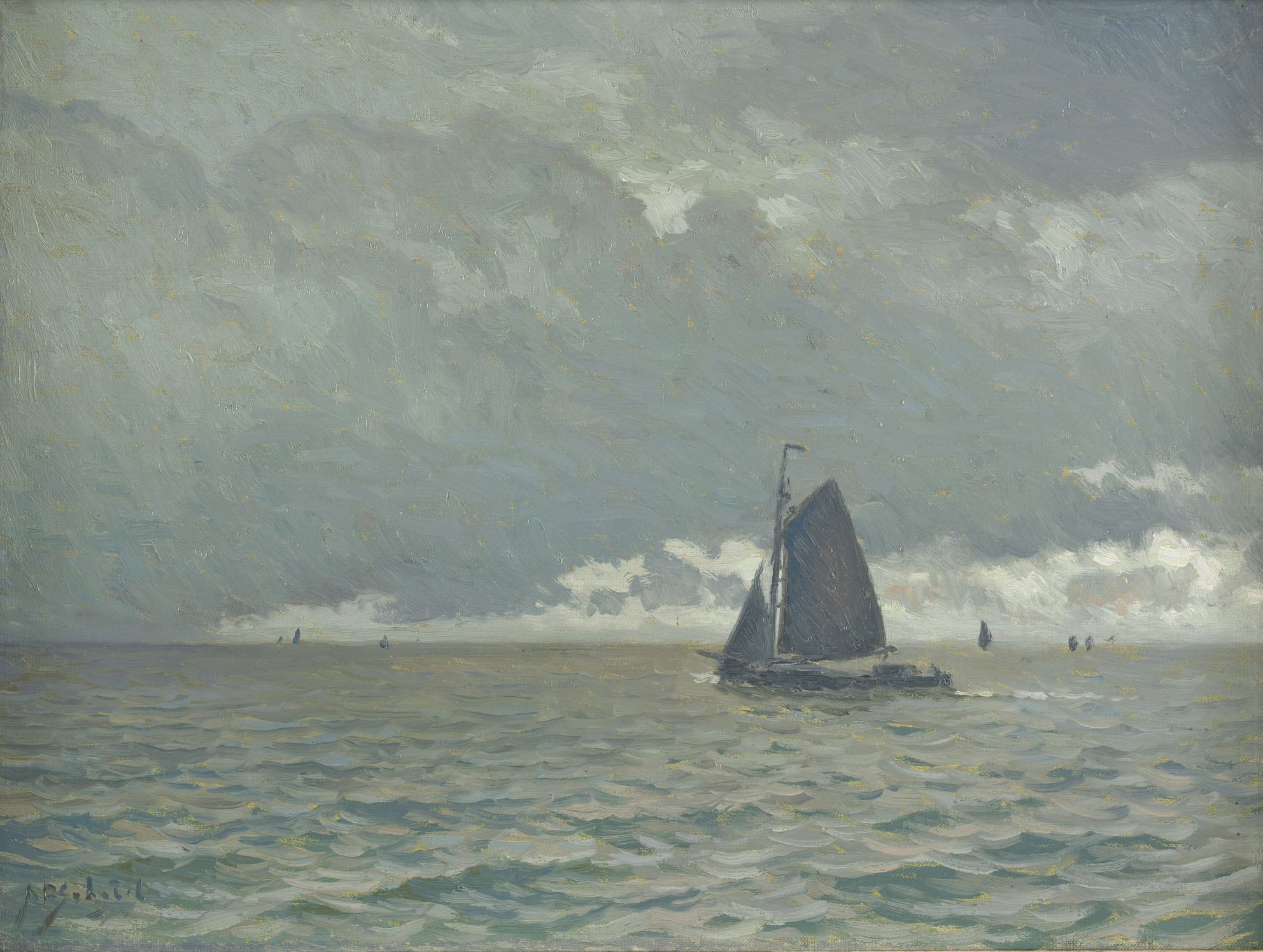 Anthonie Pieter Schotel |A sailing boat at the Zuiderzee with a grey sky | Kunsthandel Bies | Bies Gallery