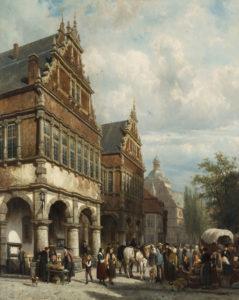 Cornelis Springer | Paderborn, gezicht op het raadhuis | Kunsthandel Bies