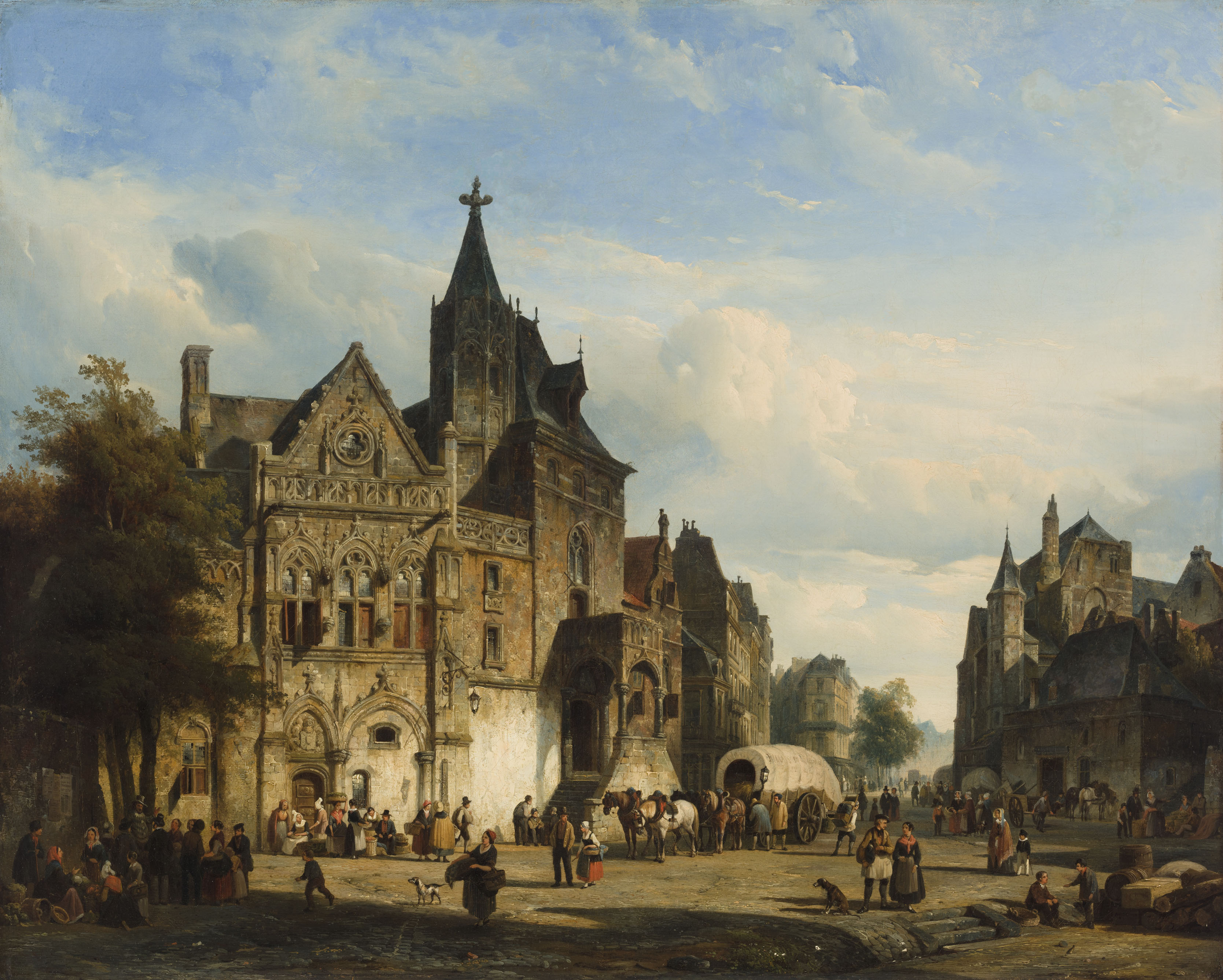 Cornelis Springer | A town view with a market and a Gothic church | Kunsthandel Bies | Bies Gallery