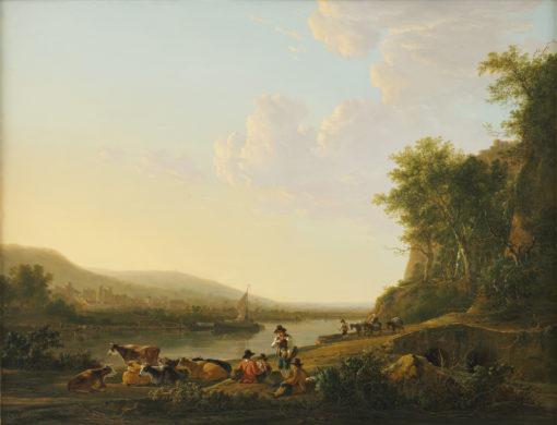 Jacob van Strij   Heuvelachtig rivierlandschap met personen en vee   Kunsthandel Bies