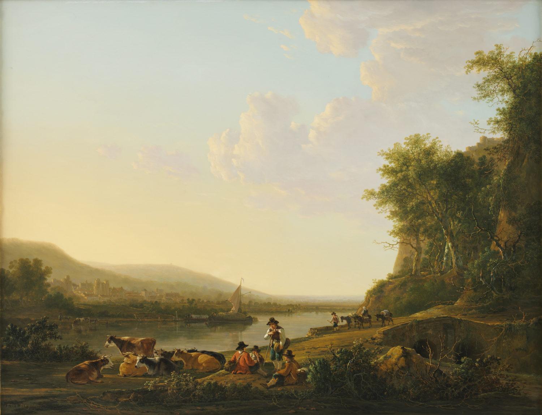 Jacob van Strij | Heuvelachtig rivierlandschap met personen en vee | Kunsthandel Bies
