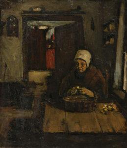 Suze Robertson | Aardappelschillende vrouw in interieur | Kunsthandel Bies