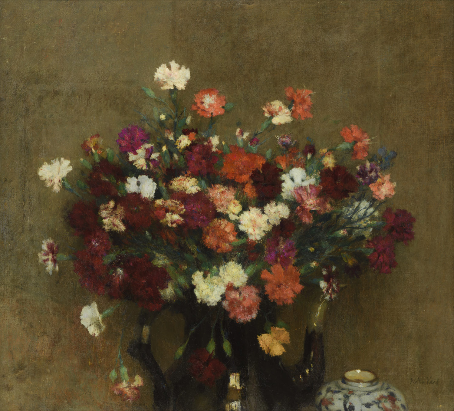 Walter Vaes | A still life with carnations in a teapot | Kunsthandel Bies | Bies Gallery