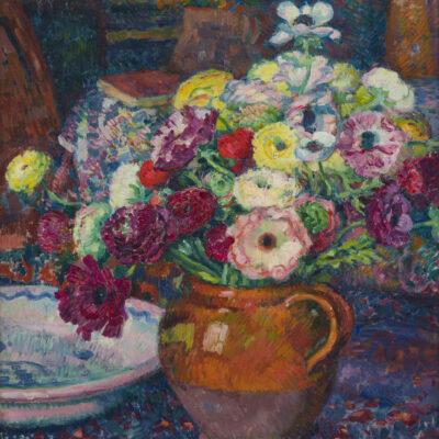 Theo van Rysselberghe | Zinnias et anémones dans un vase brun | Kunsthandel Bies | Bies Gallery