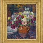 Theo van Rysselberghe | Zinnias et anémones dans un vase brun | Framed | Bies Gallery