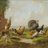 Albertus Verhoesen   Landschap met pluimvee (110A)   Kunsthandel Bies