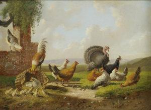 Albertus Verhoesen | Landschap met pluimvee (110A) | Kunsthandel Bies