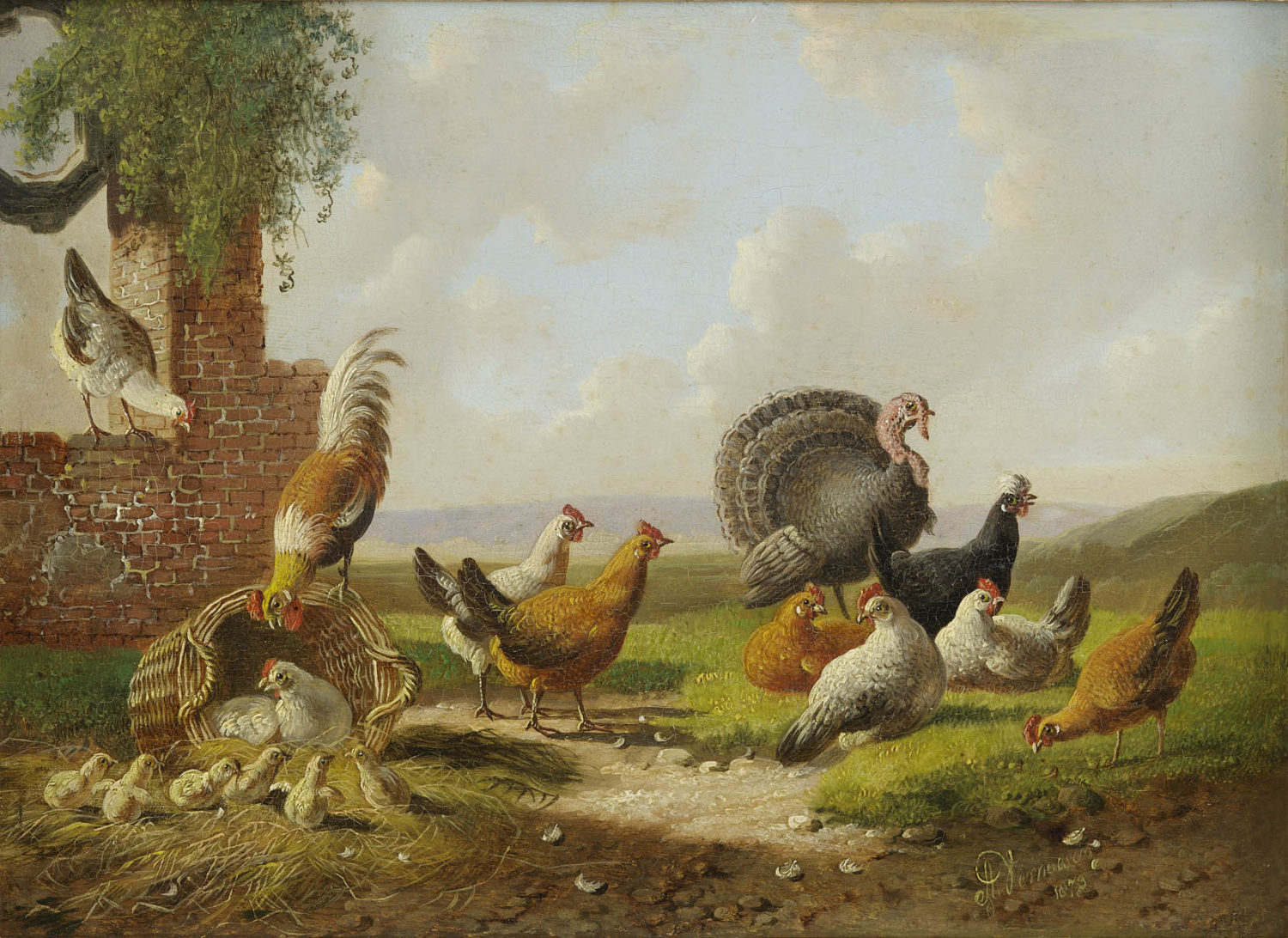Albertus Verhoesen | A landscape with poultry (110A)| Kunsthandel Bies | Bies Gallery