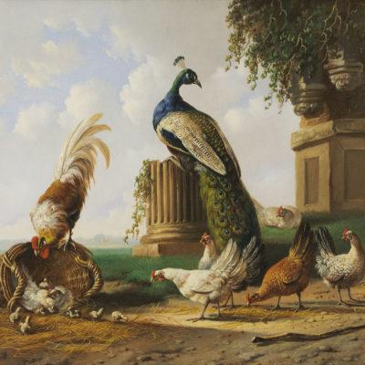 Albertus Verhoesen | Landschap met pluimvee (111) | Kunsthandel Bies