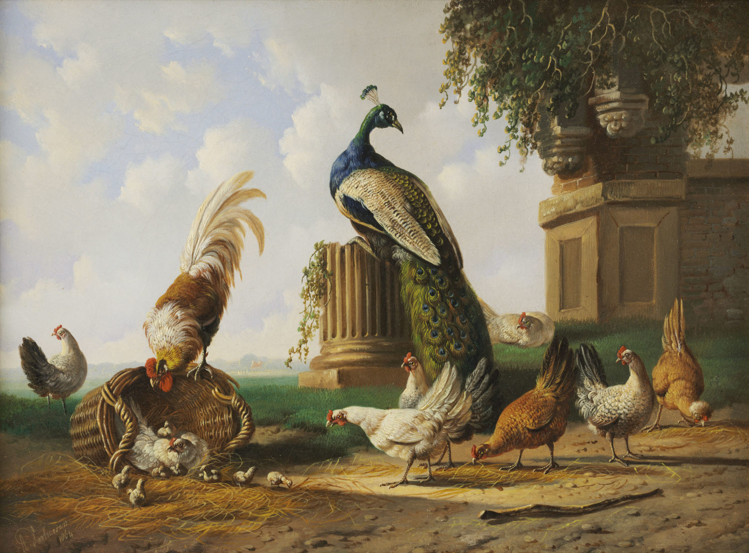 Albertus Verhoesen | A landscape with poultry (111)| Kunsthandel Bies | Bies Gallery