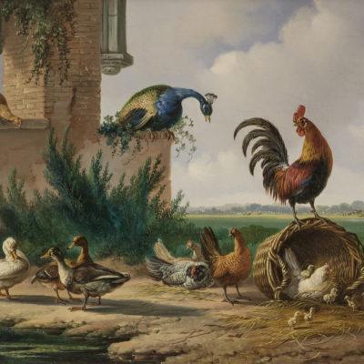 Albertus Verhoesen | Landschap met pluimvee (112) | Kunsthandel Bies