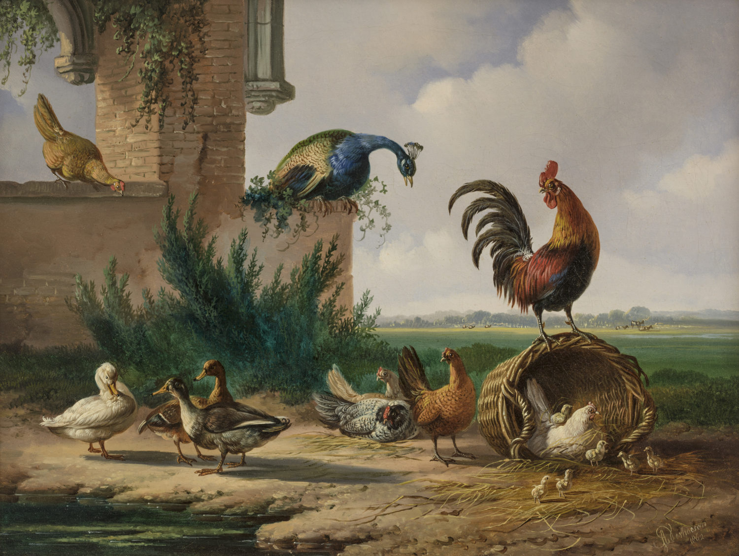 Albertus Verhoesen | A landscape with poultry (112)| Kunsthandel Bies | Bies Gallery
