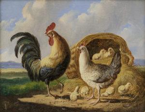 Albertus Verhoesen | Landschap met pluimvee (117B) | Kunsthandel Bies