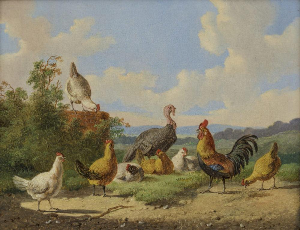 Albertus Verhoesen | Pluimvee bij een muur (122B) | Kunsthandel Bies