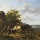 Wouterus Verschuur   Paarden en personen bij een bron   Kunsthandel Bies