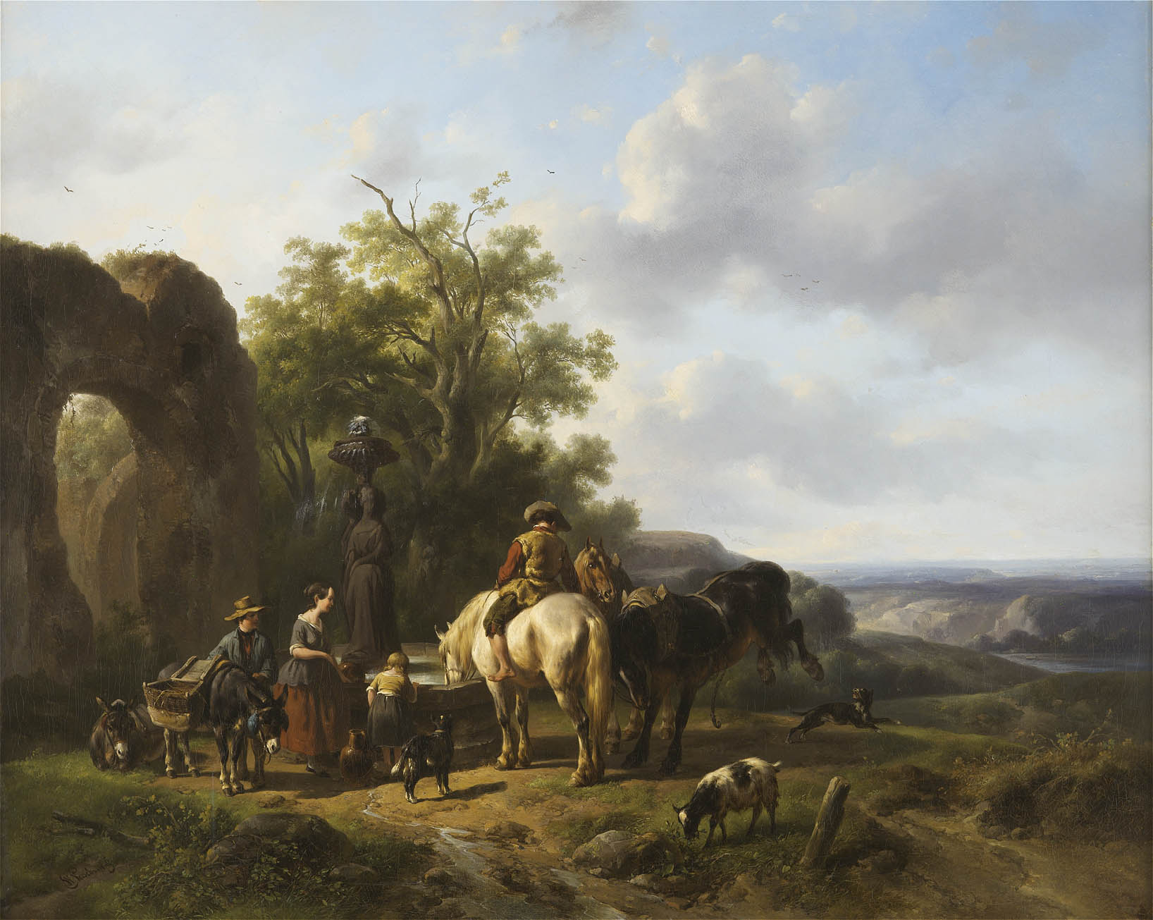 Wouterus Verschuur | Horses and figures near a well | Kunsthandel Bies | Bies Gallery